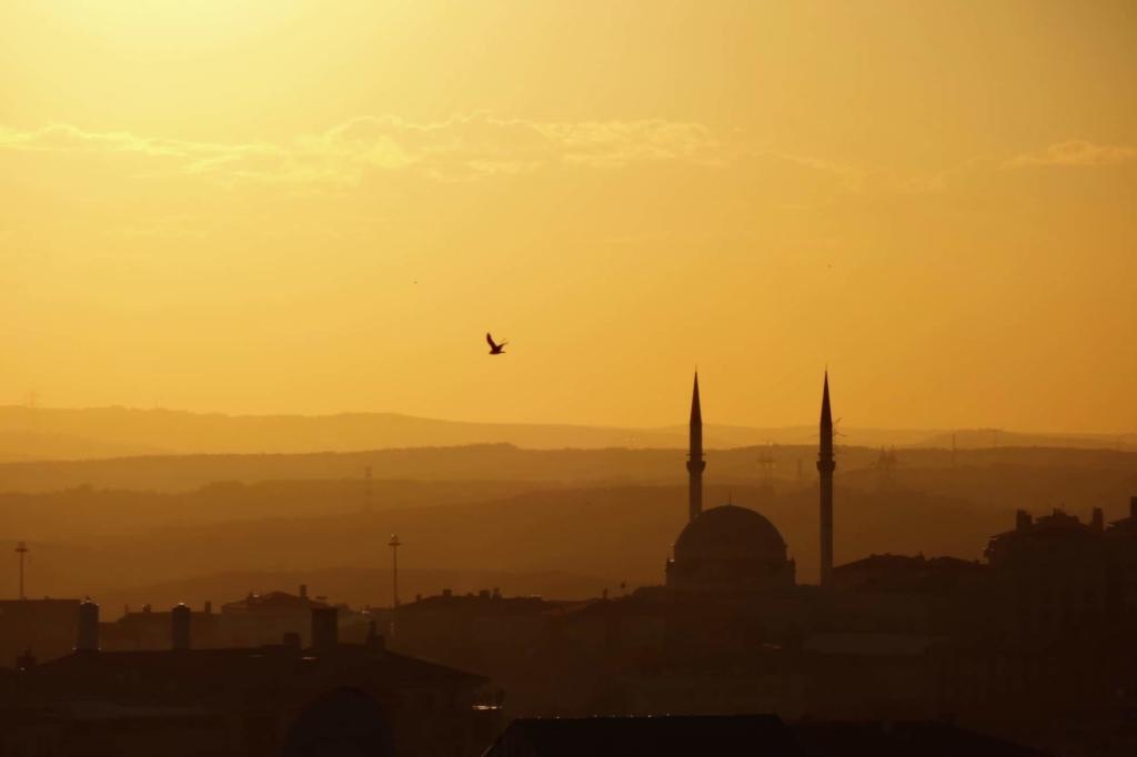 Istanbul, Skyline in der Dämmerung