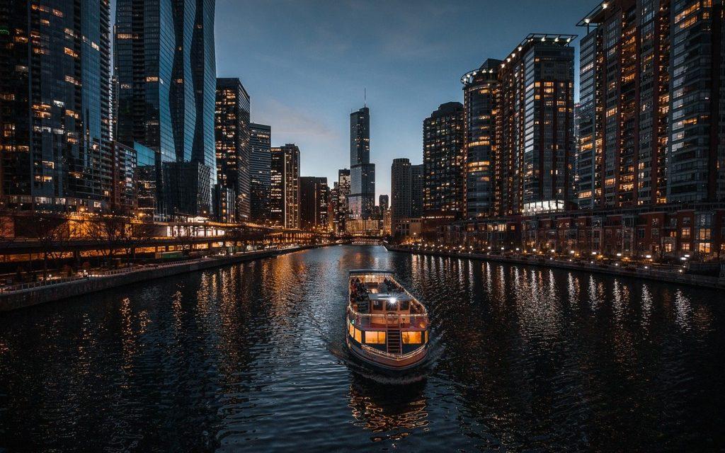 boat, river, buildings
