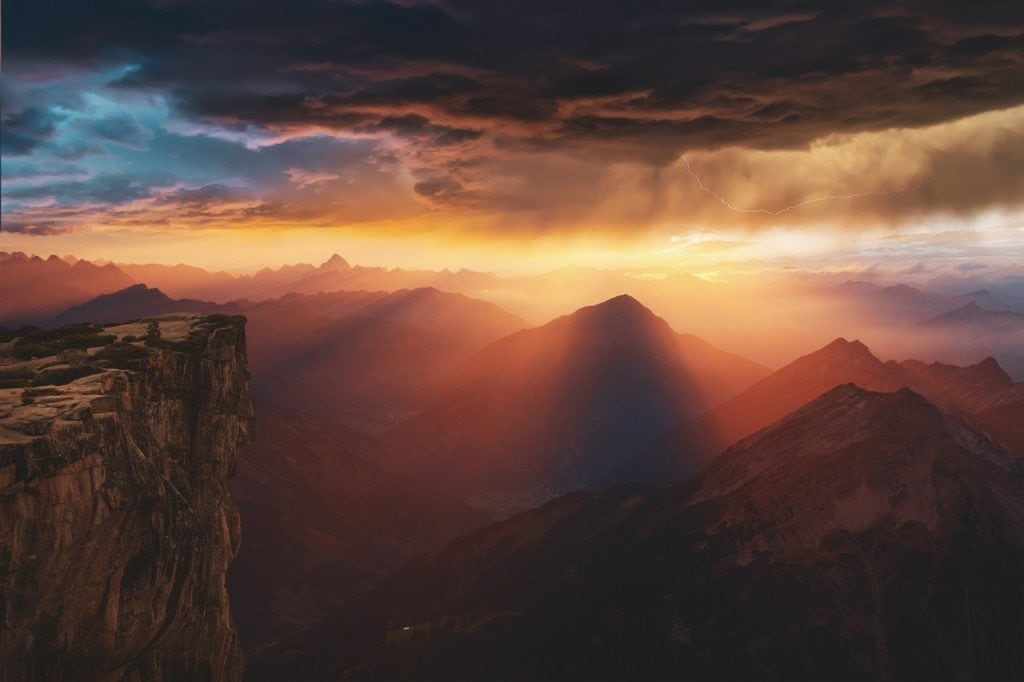 mountains, sunset, clouds