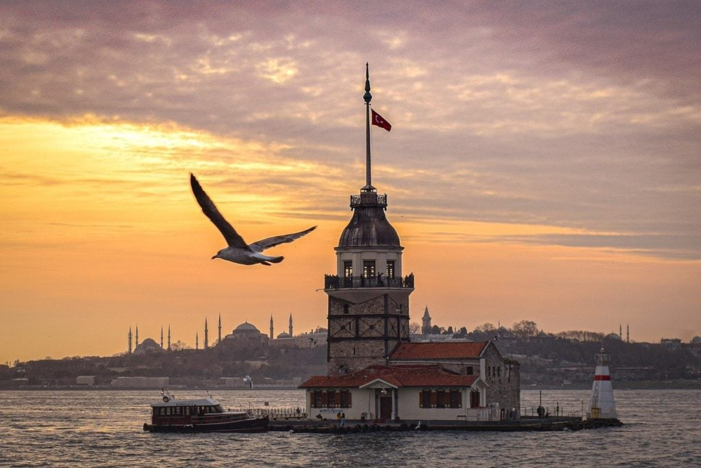 river, sunset, maiden's tower views