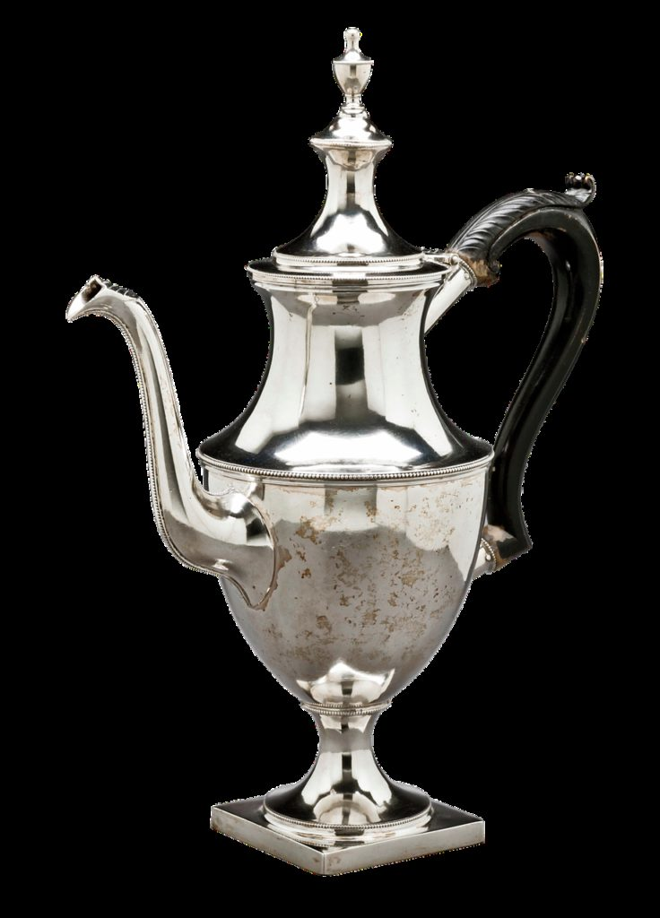 silver coffeepot, coffeepot, antique