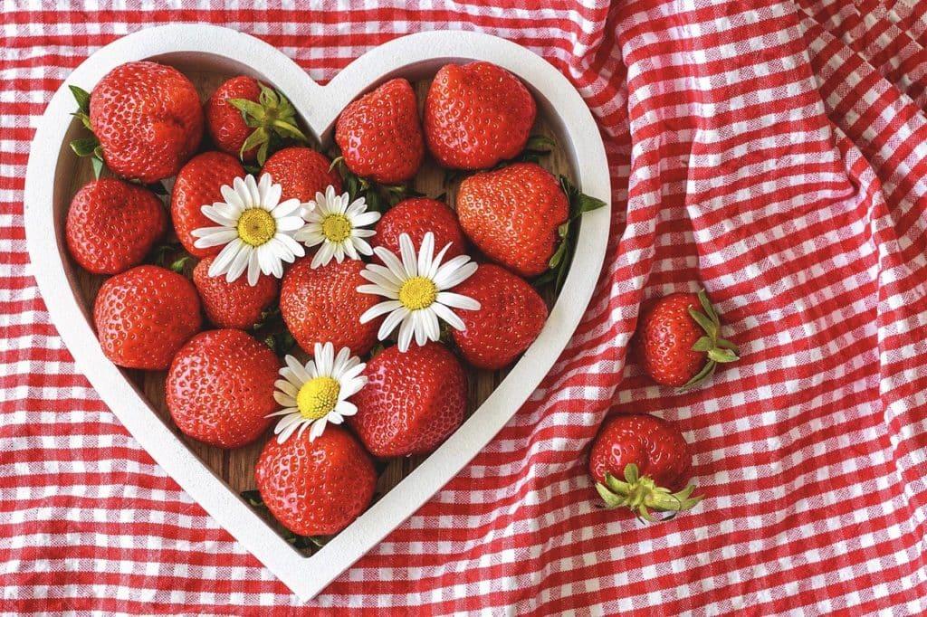 strawberries, ripe, heart